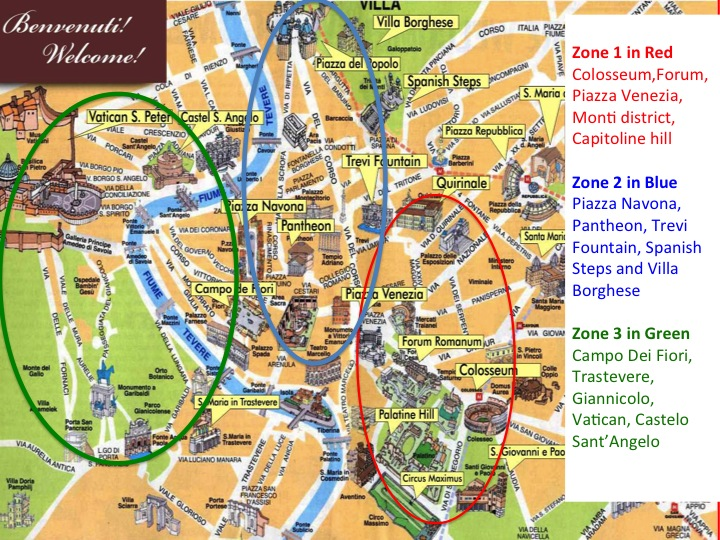 Map of Rome divided into 3 zones
